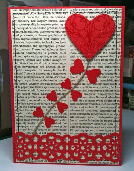 carte avec cœur perforatrice