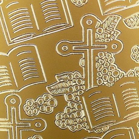 Sticker peel off adhésif or symboles religieux communion