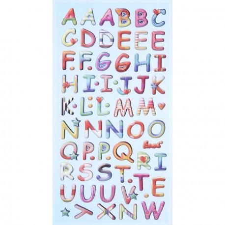 Stickers adhésifs alphabet majuscule couleur vive