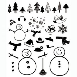 Tampons clear stamps noel sapins et bonhommes de neige