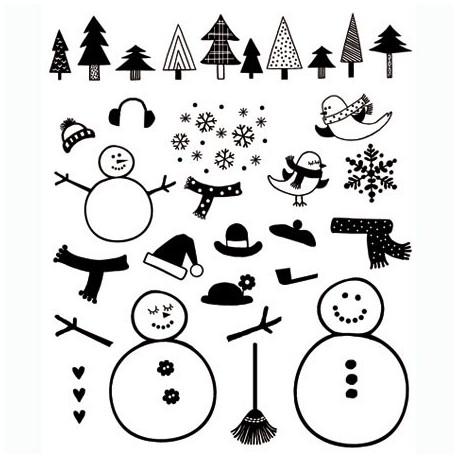 Tampons clear stamps Noël sapins et bonhommes de neige