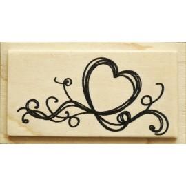 Tampon bois mariage coeur grifonné