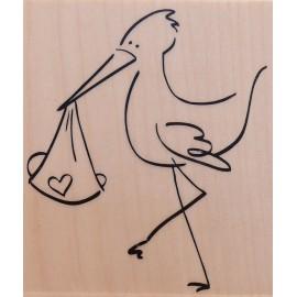 Tampon bois naissance cigogne stylisé -SUP