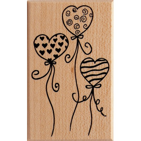 Tampon bois mariage ballon coeur