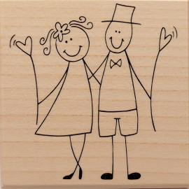 Tampon bois mariage mariés