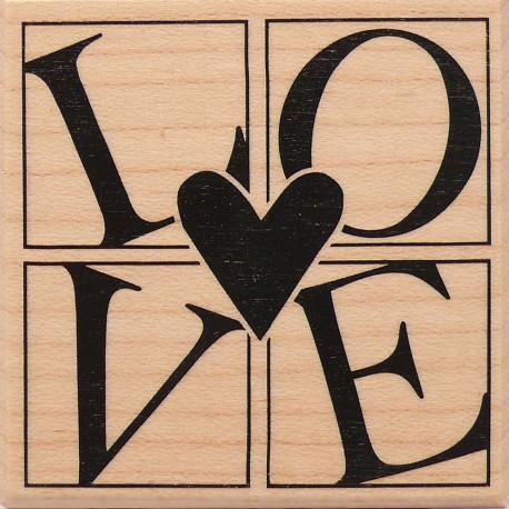 Tampon bois mariage coeur love