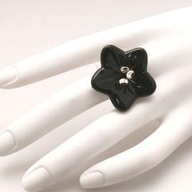 Bague fantaisie créateur Annie Burnotte céramique noir réglable