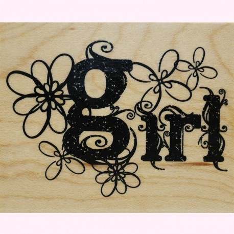 Tampon bois naissance girl et fleurs 7x5cm