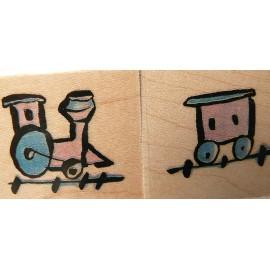 Tampon bois trains enfants
