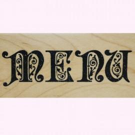 Tampon bois écriture menu 9.5x2.5cm