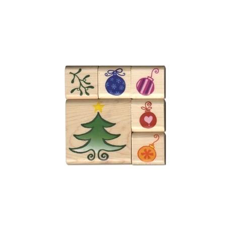 Tampon bois set sapin boule Noël