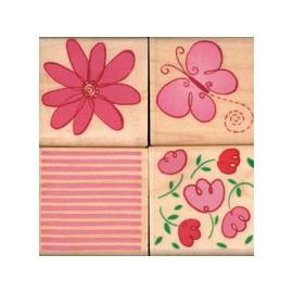 Tampon bois set de 4 fleur papillon