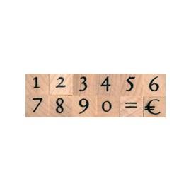 Tampon bois set chiffres antiques