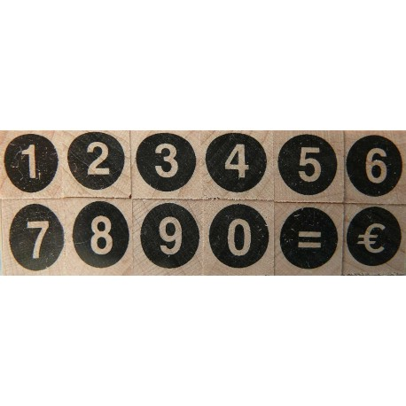 Tampon bois 12 chiffres ronds