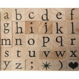 Tampon bois 30 alphabet antique minuscule