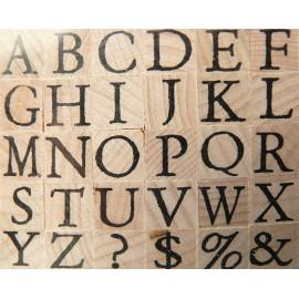 Tampon bois 30 alphabet antique majuscule