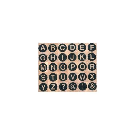 Tampon bois 30 alphabet rond majuscule