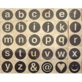 Tampon bois 30 alphabet rond minuscule