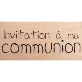 Tampon bois communion texte invitation à ma communion