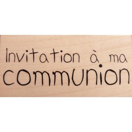 Tampon bois communion texte invitation à ma communion