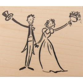 Tampon bois mariage salut mariés