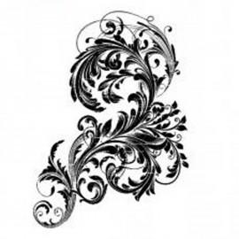Tampon indigoblu arabesque vintage