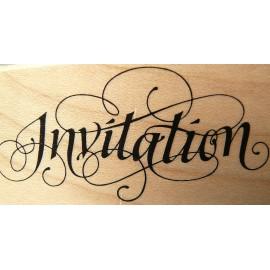 Tampon bois texte invitation