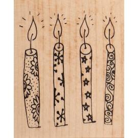 Tampon bois bougies de fête