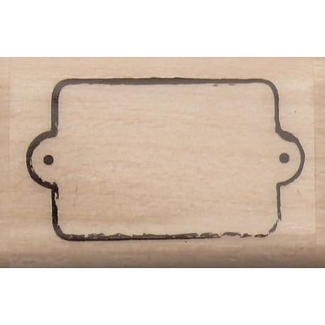 Tampon bois étiquette mini tag