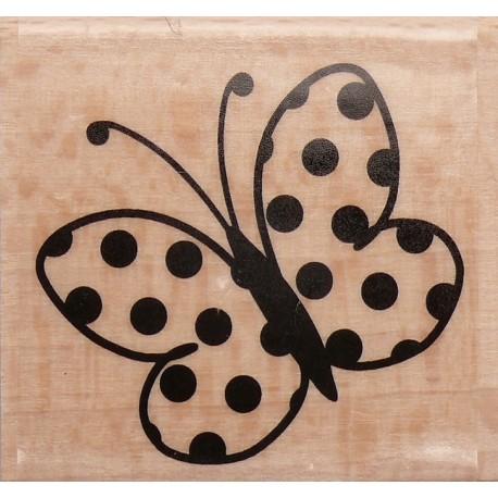 Tampon bois papillon plumetis