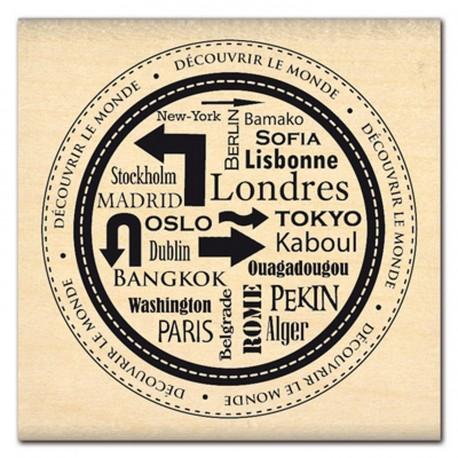 Tampon bois journaling rond découvrir le monde