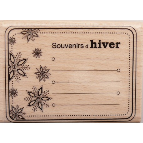 Tampon bois journaling rectangle souvenirs d'hiver