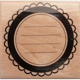 Tampon bois journaling cercle de dentelle