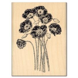 Tampon bois fleur bouquet de coquelicots