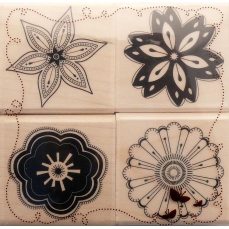 Tampon bois set de 4 histoire de fleurs