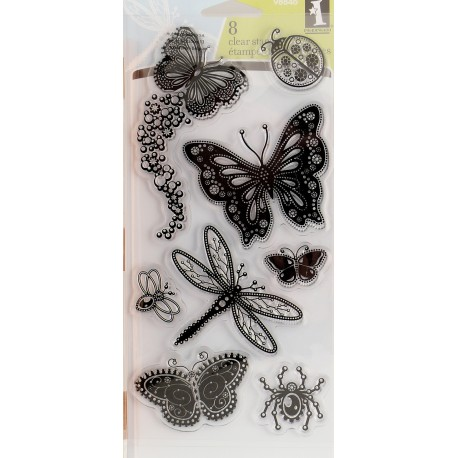 Tampon clear stamps insectes inkadinkado 8 tampons