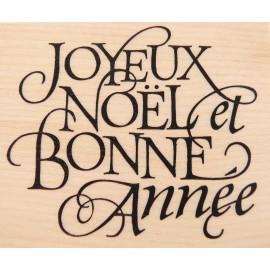 Tampon bois noel texte joyeux noel et bonne année