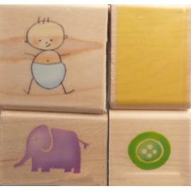 Tampon bois set bébé bleu