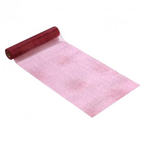 Tissu non tissé Vlies Creapop strass or sur bordeaux 3mx25cm