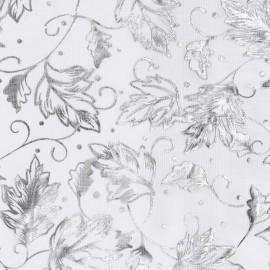 Tissu non tissé Vlies Creapop feuille argent sur blanc 3mx29cm