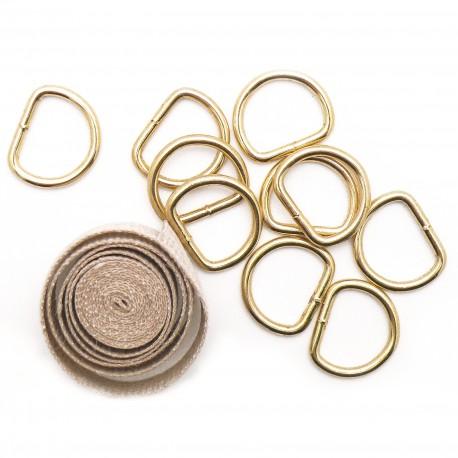 Attaches encadrement tresse de lin 1 mètre et anneaux D14 x10