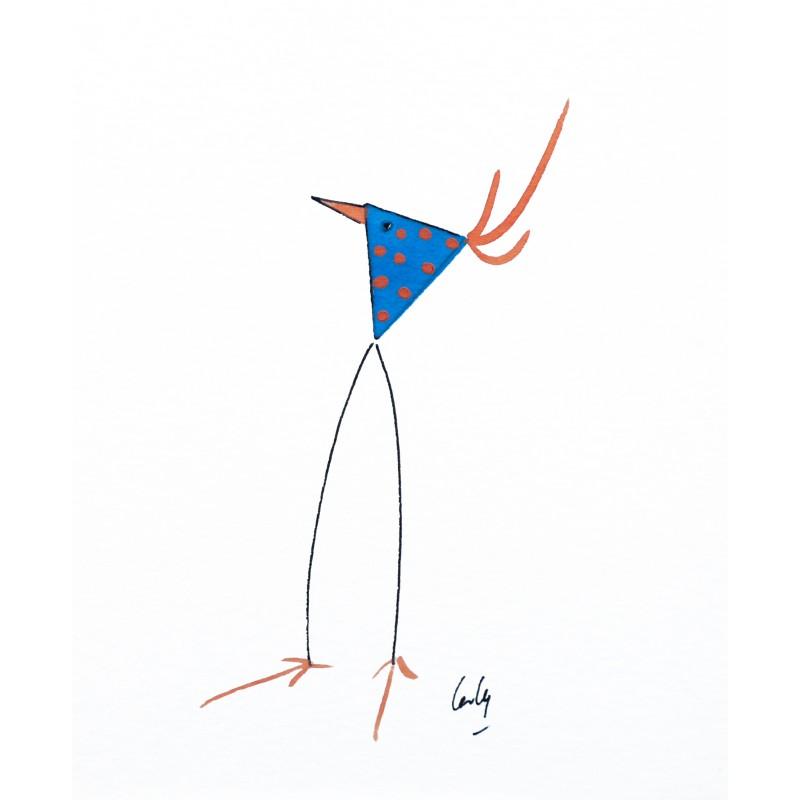 Aquarelle laly oiseau bleu pois orange achat vente for Oiseau bleu et orange