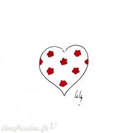 Aquarelle Laly Cœur blanc à étoiles rouges