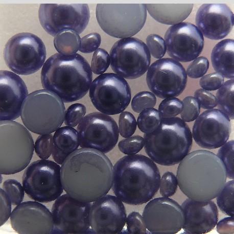 Demi perles en verre lilas 3-5-6 mm -