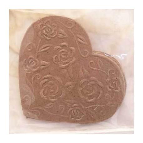 Rondelle en papier mache coeur avec ornement roses par 2 - 9cm -