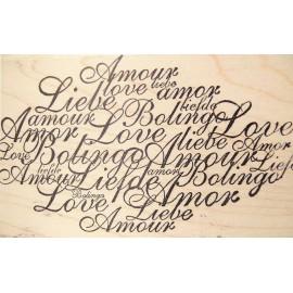 Tampon bois texte amour 11x5.5cm
