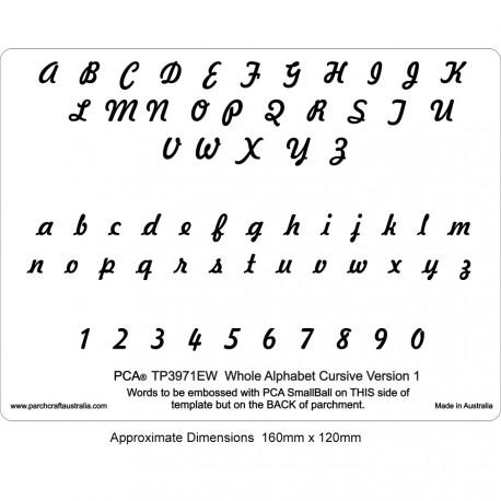 PCA Template GAUFRAGE version alphabet CURSIVE 1