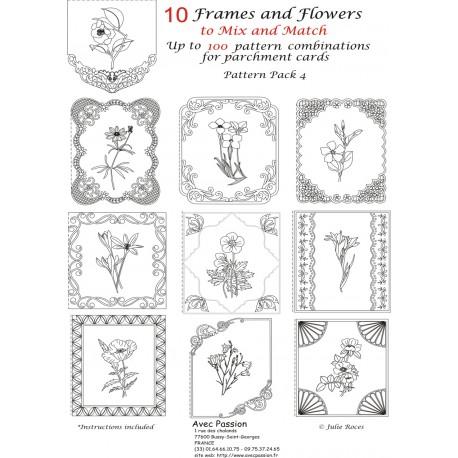 Pattern Parchment Julie Roces frames and flowers pattern 4