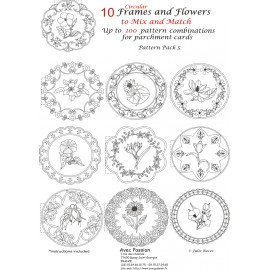 Pattern Parchment Julie Roces frames and flowers pattern 5