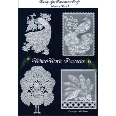 Pattern Parchment Julie Roces White Work Peacocks pattern 7